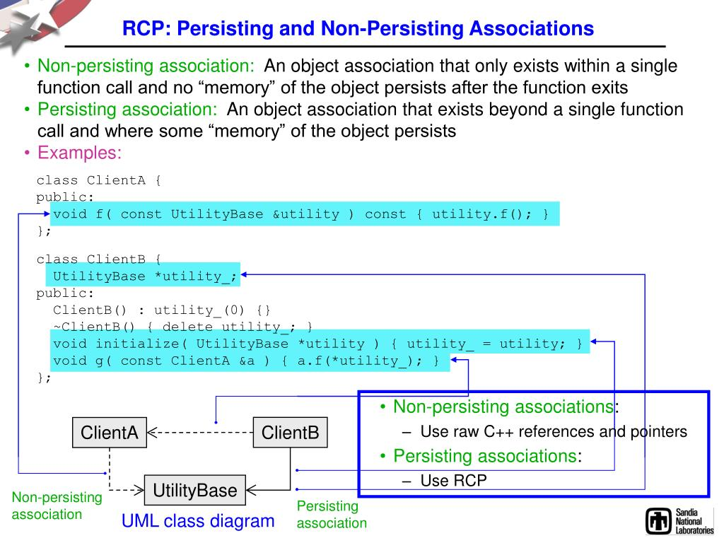 RCP: Persisting and Non-Persisting Associations