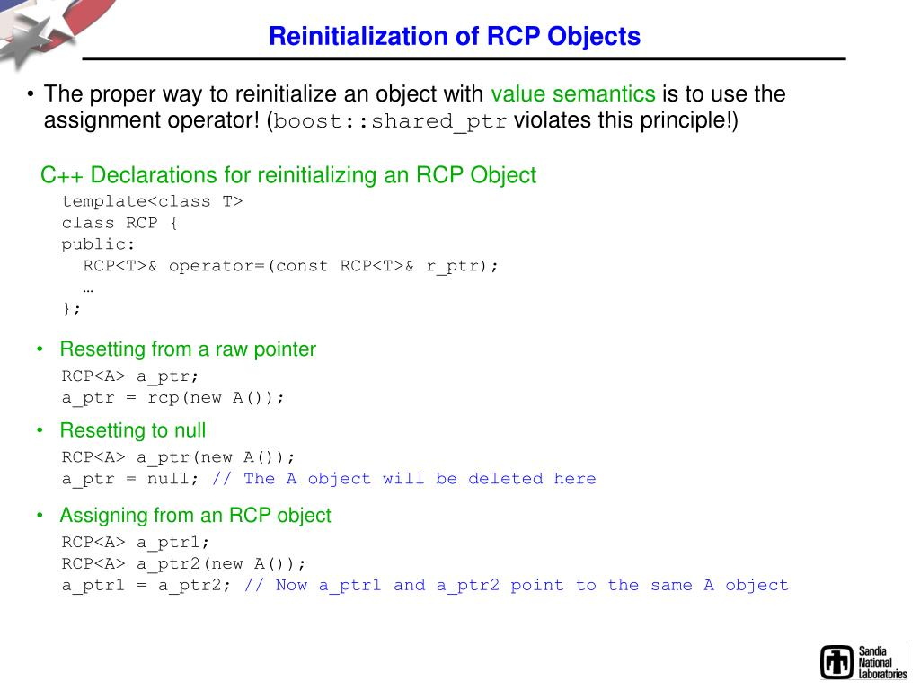 Reinitialization of RCP Objects