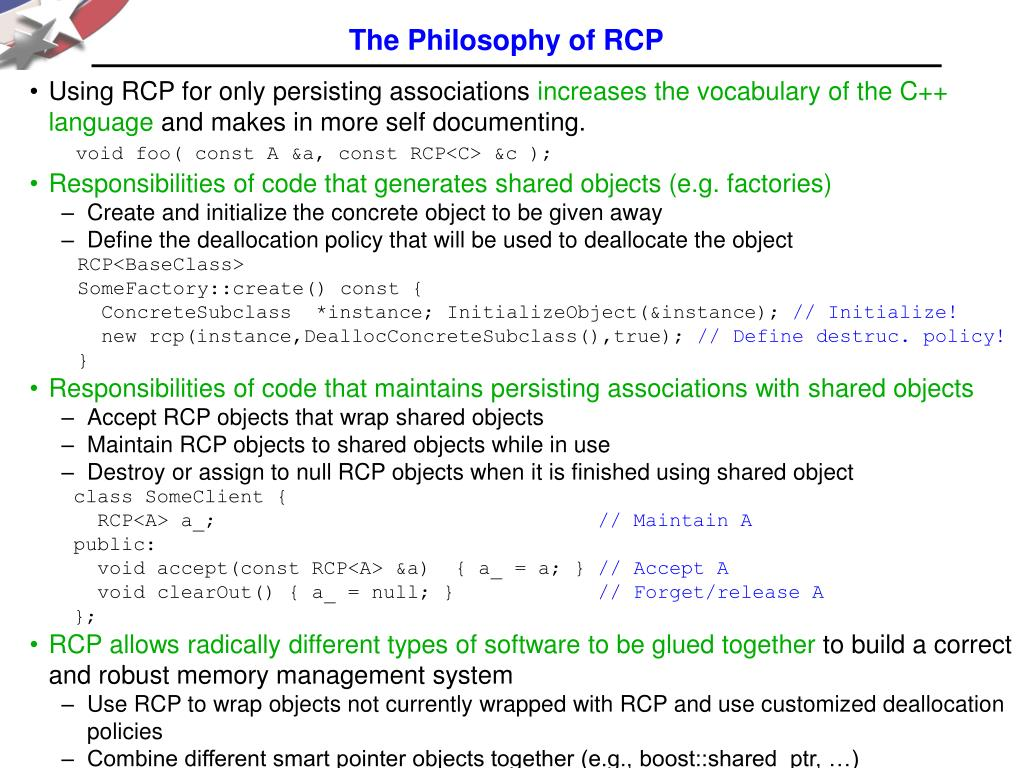 The Philosophy of RCP