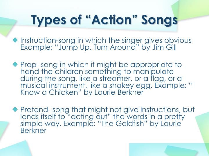 "Types of ""Action"" Songs"