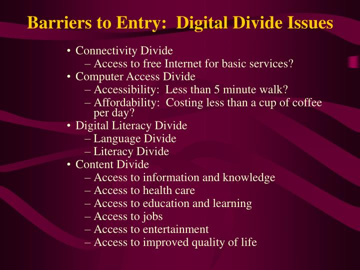 Barriers to entry digital divide issues