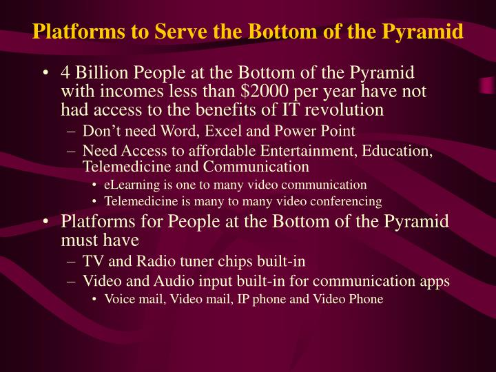 Platforms to serve the bottom of the pyramid