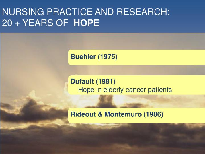 NURSING PRACTICE AND RESEARCH: