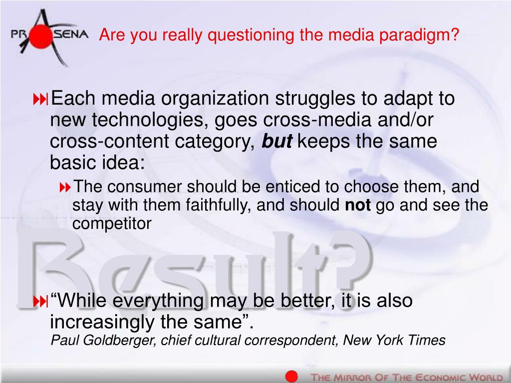 Are you really questioning the media paradigm?