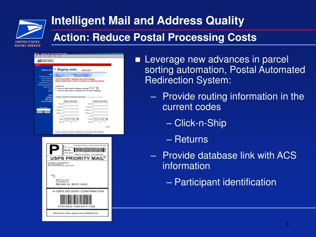 Action: Reduce Postal Processing Costs