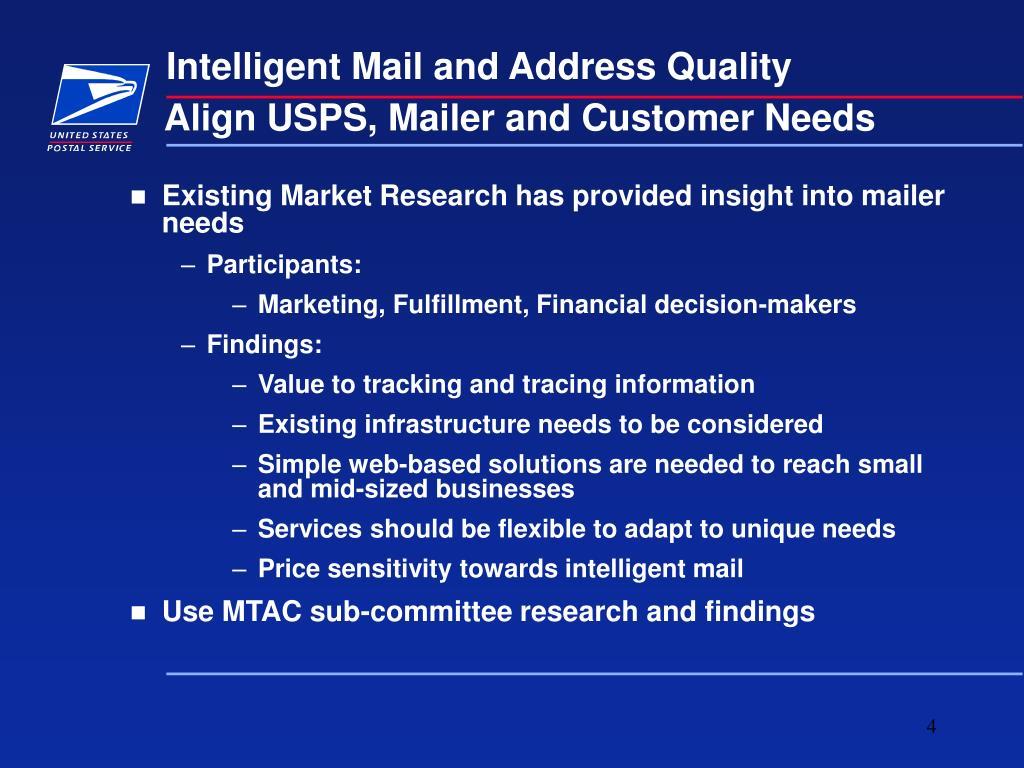 Align USPS, Mailer and Customer Needs