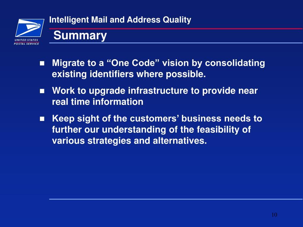 Intelligent Mail and Address Quality
