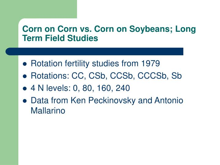 Corn on Corn vs. Corn on Soybeans; Long Term Field Studies