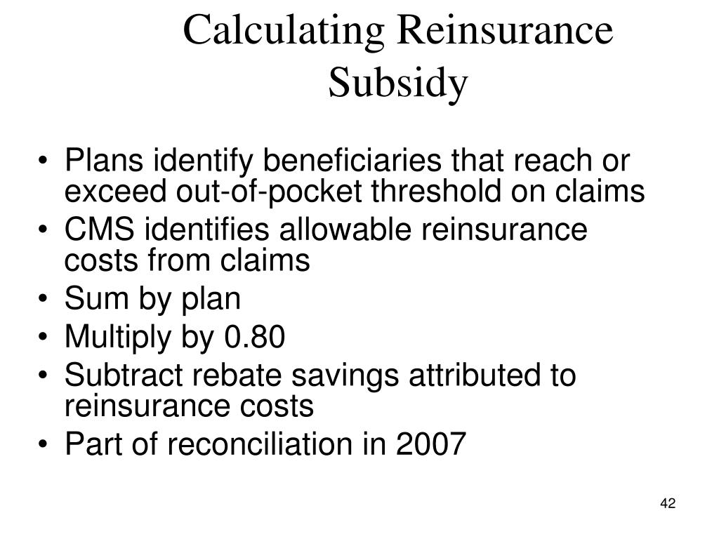 Calculating Reinsurance Subsidy