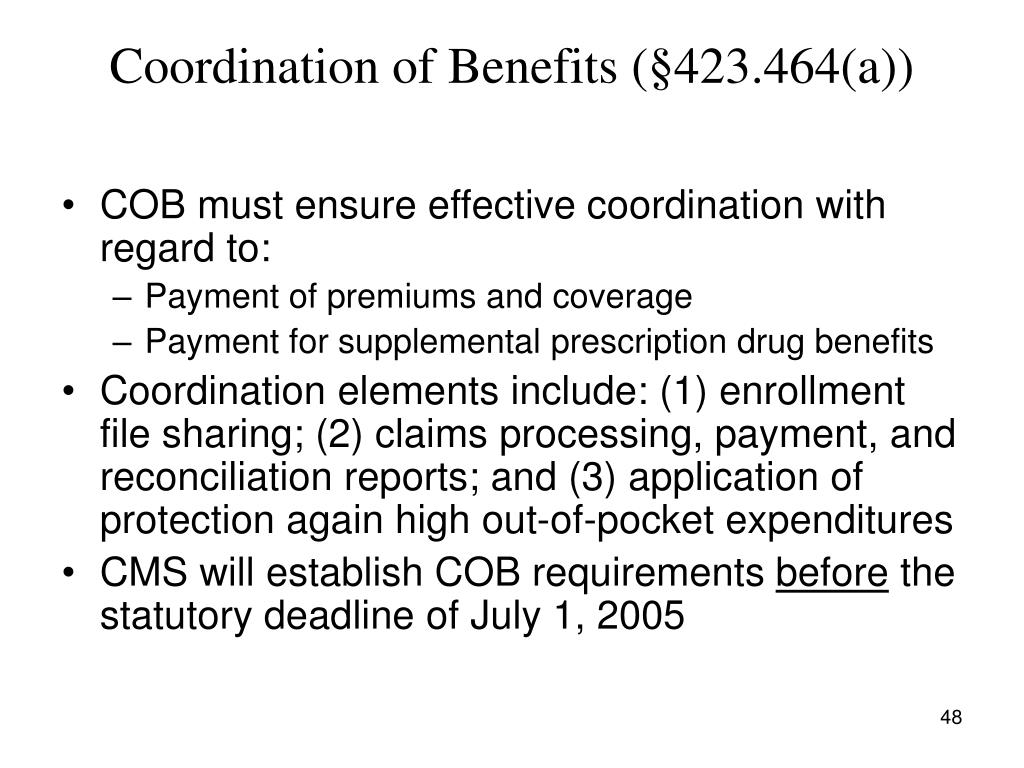 Coordination of Benefits (§423.464(a))