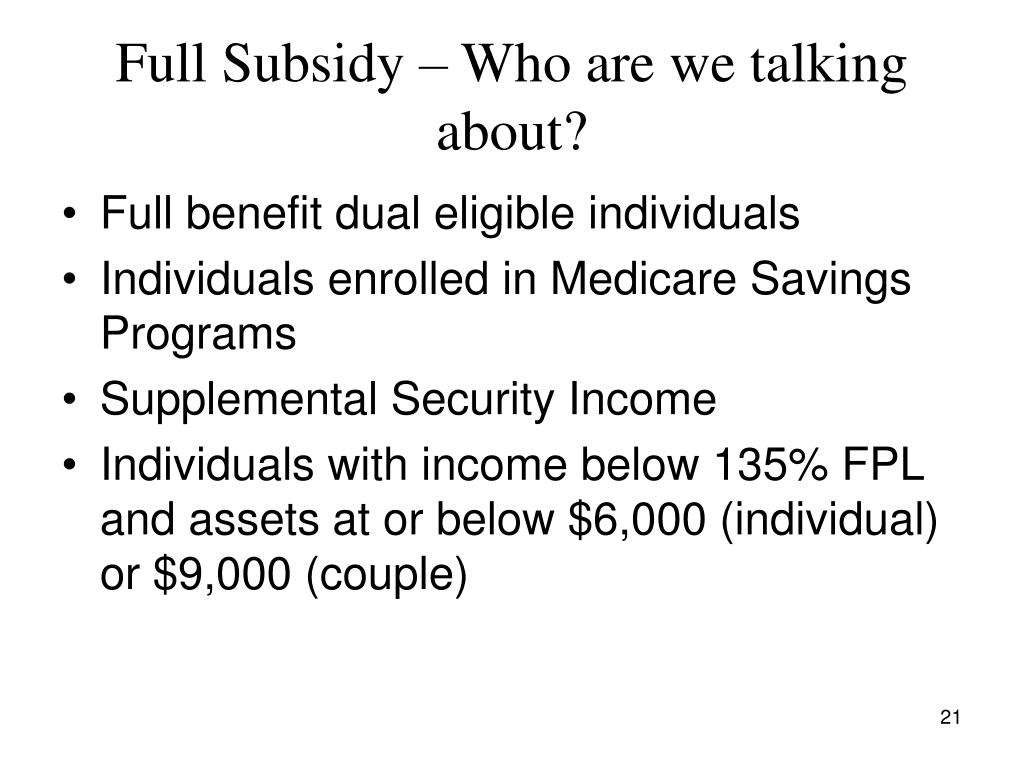 Full Subsidy – Who are we talking about?