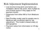 risk adjustment implementation