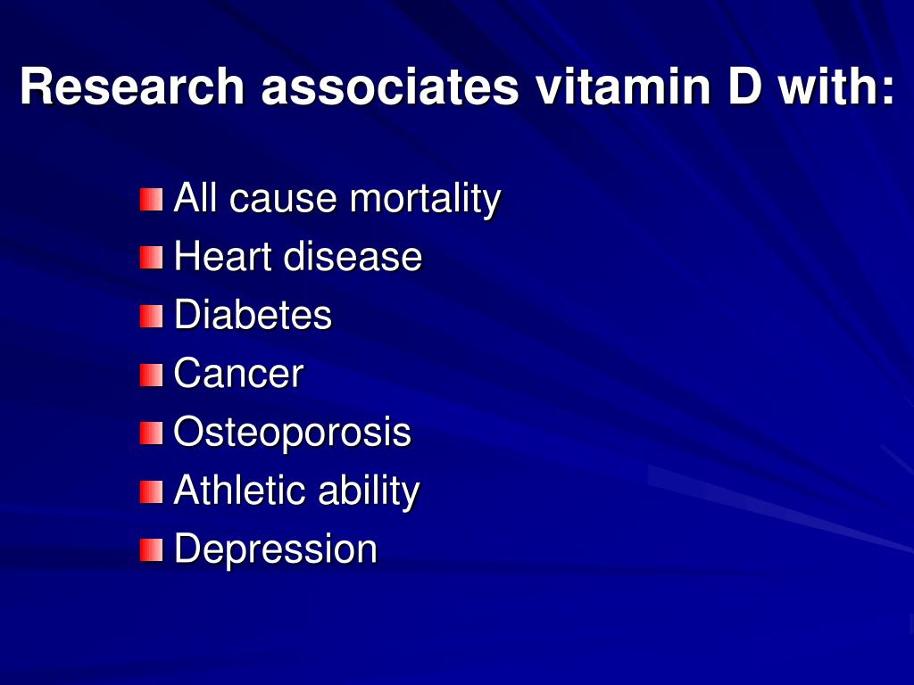 Research associates vitamin D with: