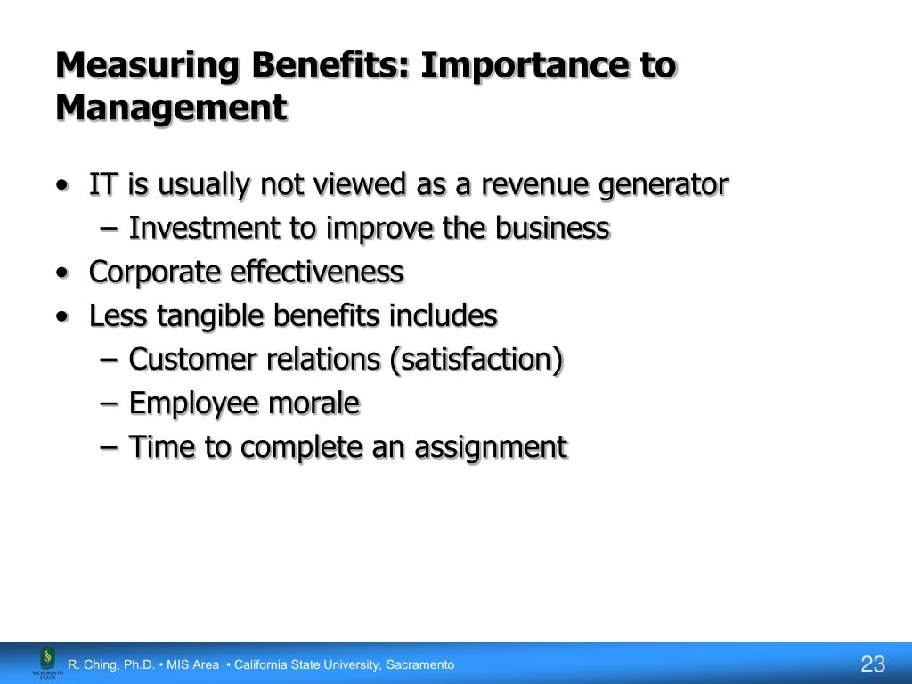 Measuring Benefits: Importance to Management