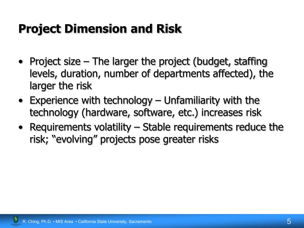 Project Dimension and Risk