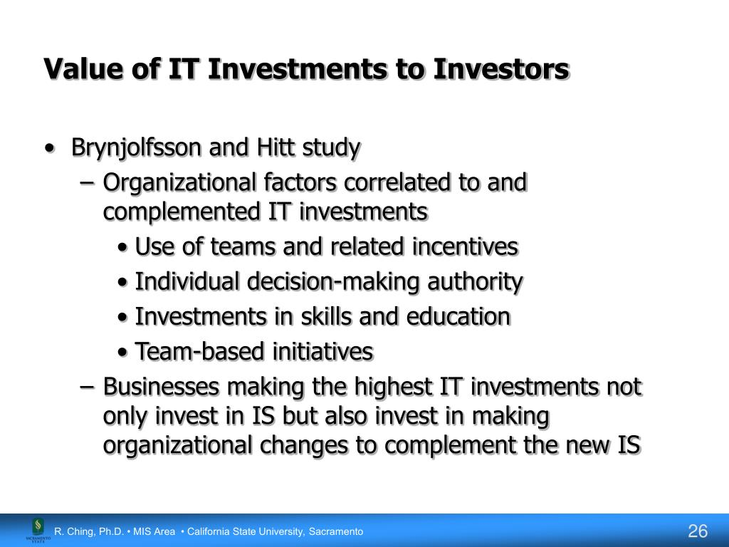 Value of IT Investments to Investors