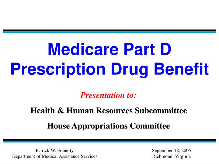 Medicare part d prescription drug benefit
