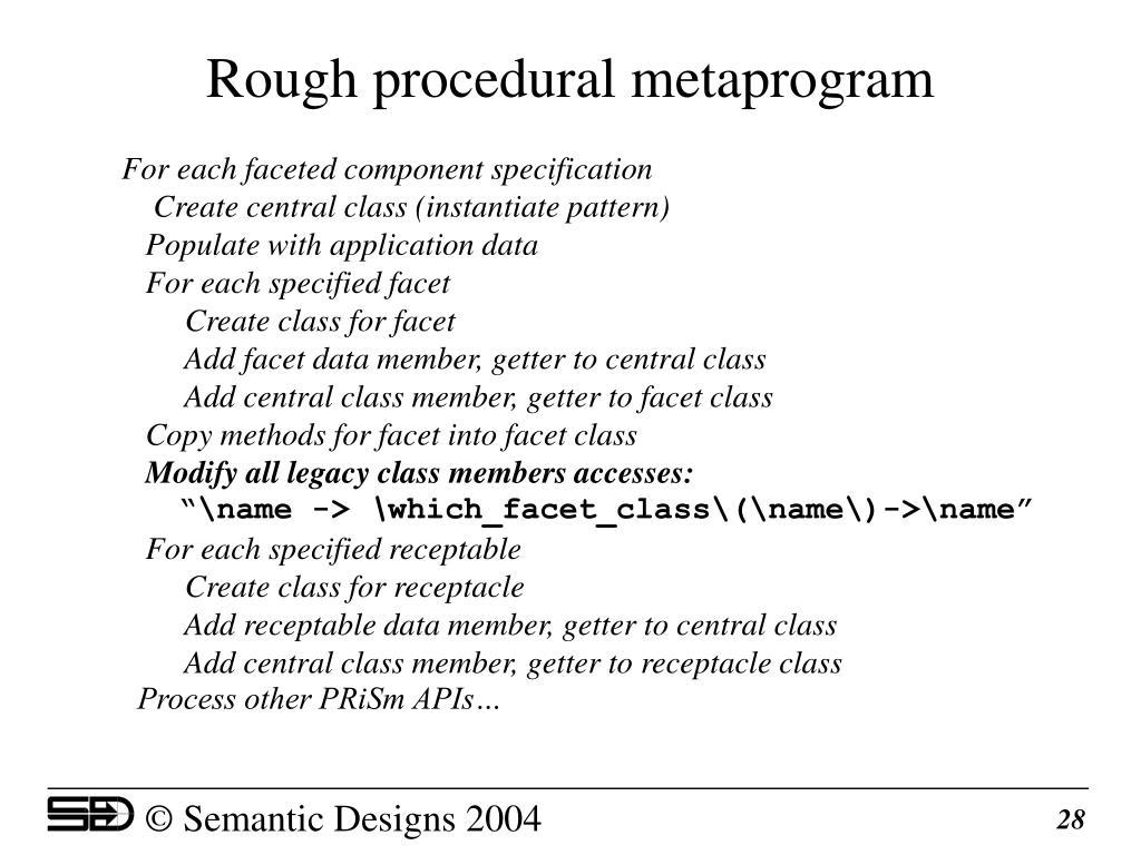 Rough procedural metaprogram