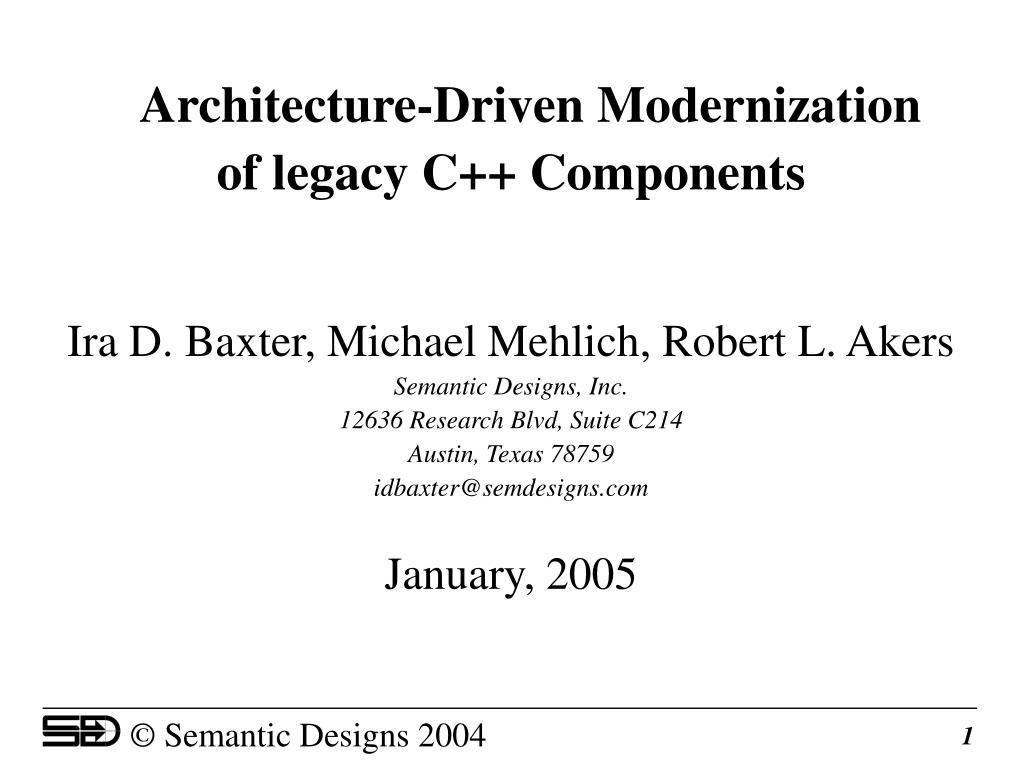 Architecture-Driven Modernization