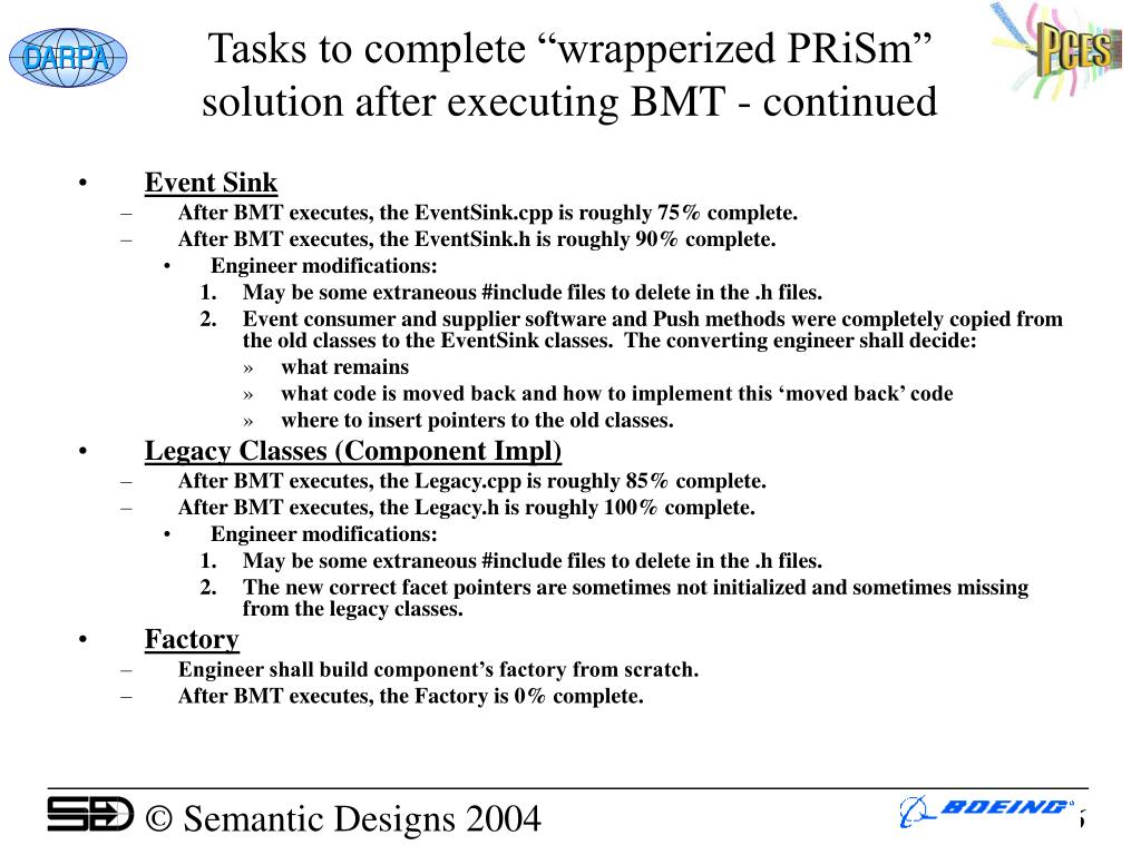 """Tasks to complete """"wrapperized PRiSm"""" solution after executing BMT - continued"""
