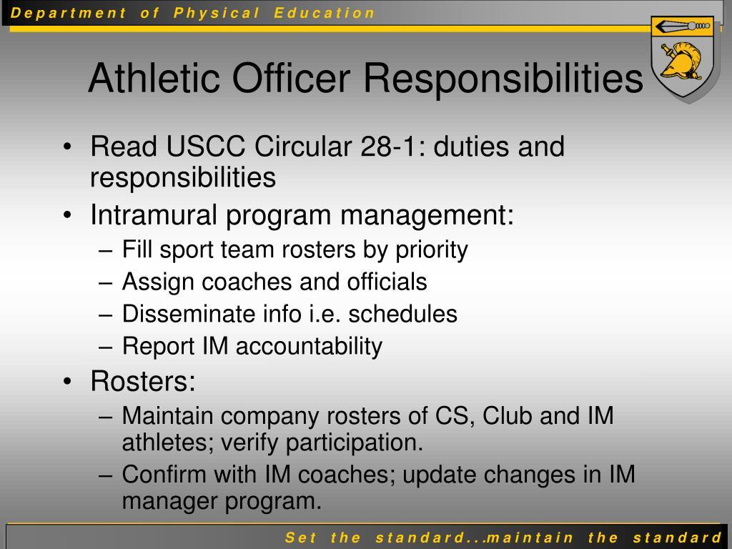 Read USCC Circular 28-1: duties and responsibilities