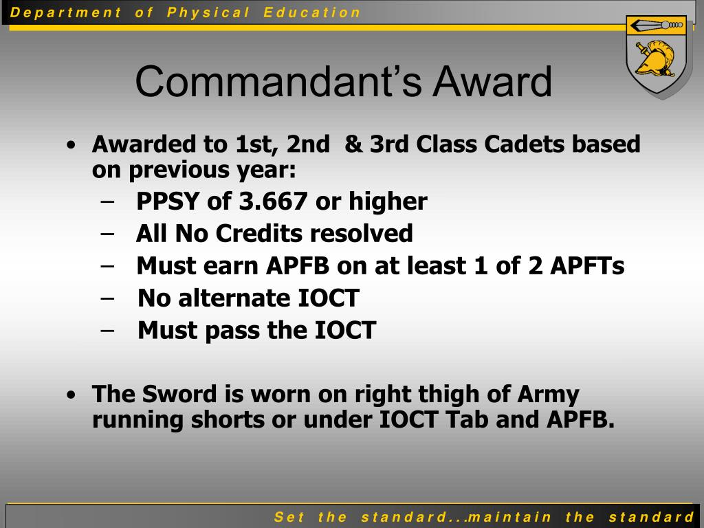 Awarded to 1st, 2nd  & 3rd Class Cadets based on previous year: