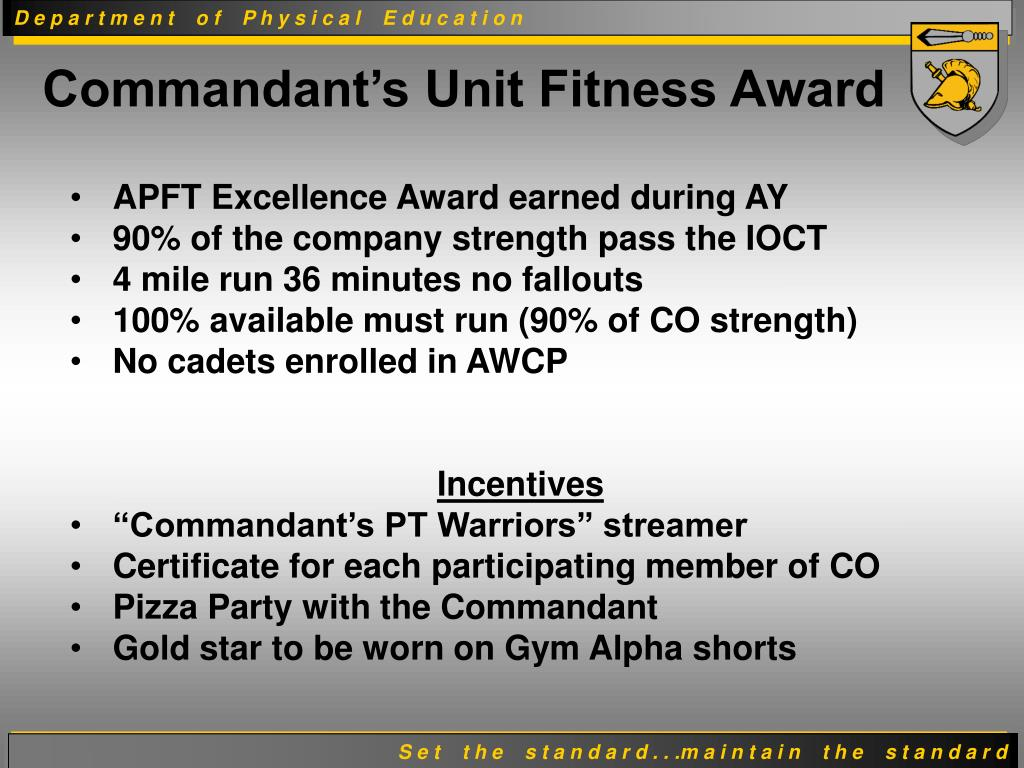 APFT Excellence Award earned during AY