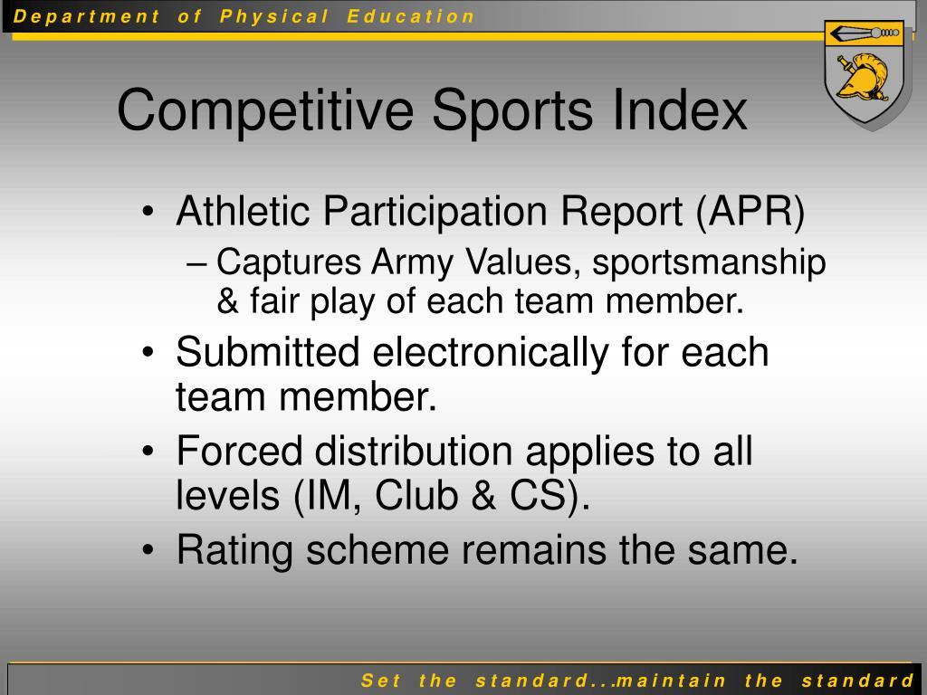 Athletic Participation Report (APR)