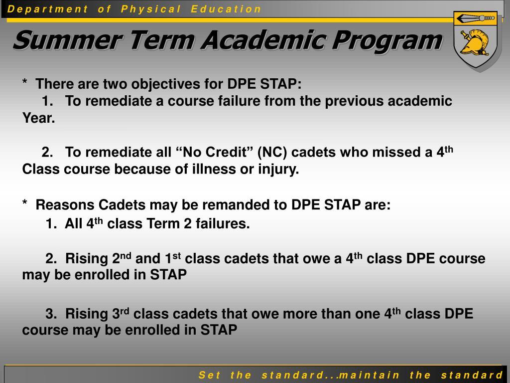 Summer Term Academic Program