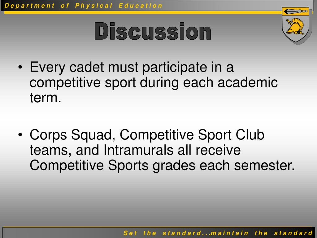 Every cadet must participate in a competitive sport during each academic term.
