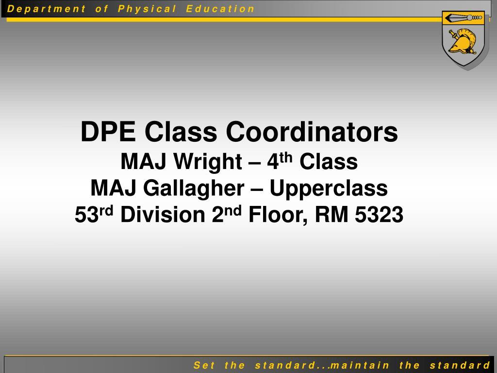 DPE Class Coordinators