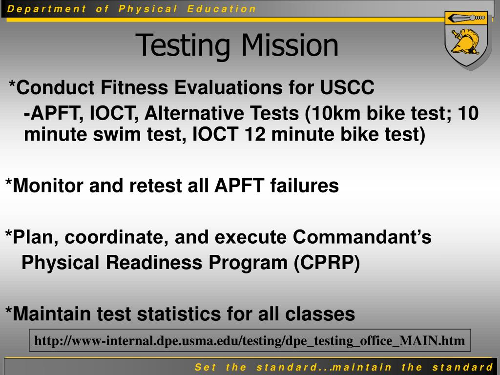 *Conduct Fitness Evaluations for USCC