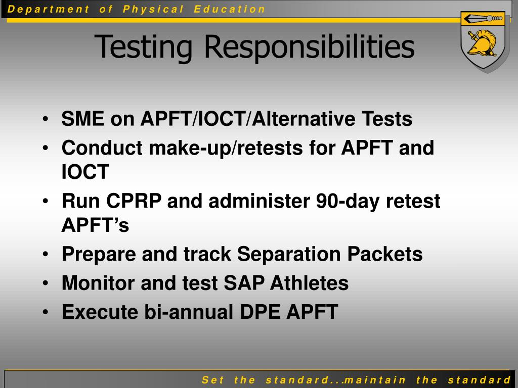 SME on APFT/IOCT/Alternative Tests