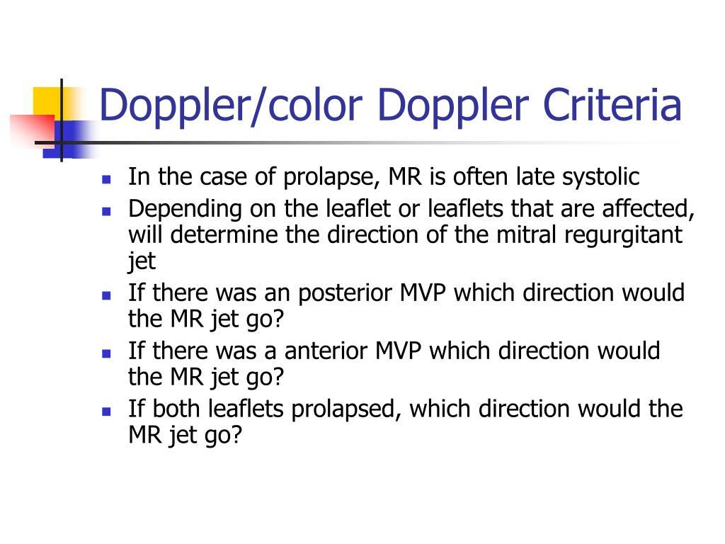 Doppler/color Doppler Criteria