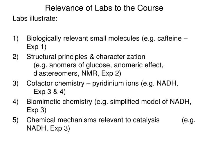 Relevance of Labs to the Course