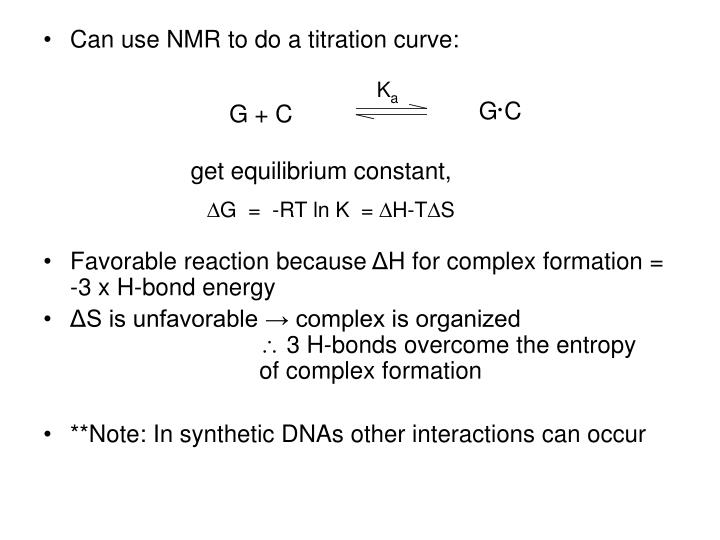 Can use NMR to do a titration curve:
