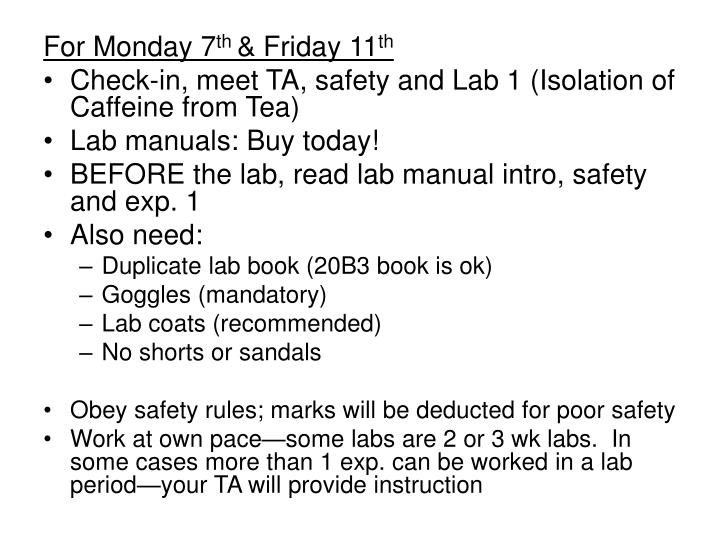 For Monday 7