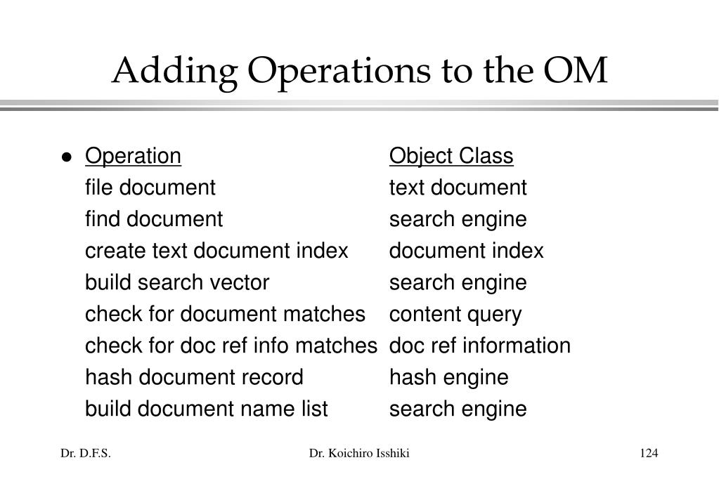 Adding Operations to the OM