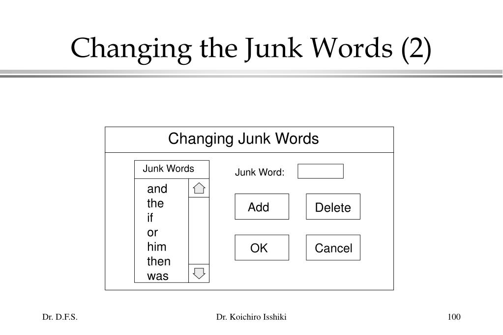Changing the Junk Words (2)