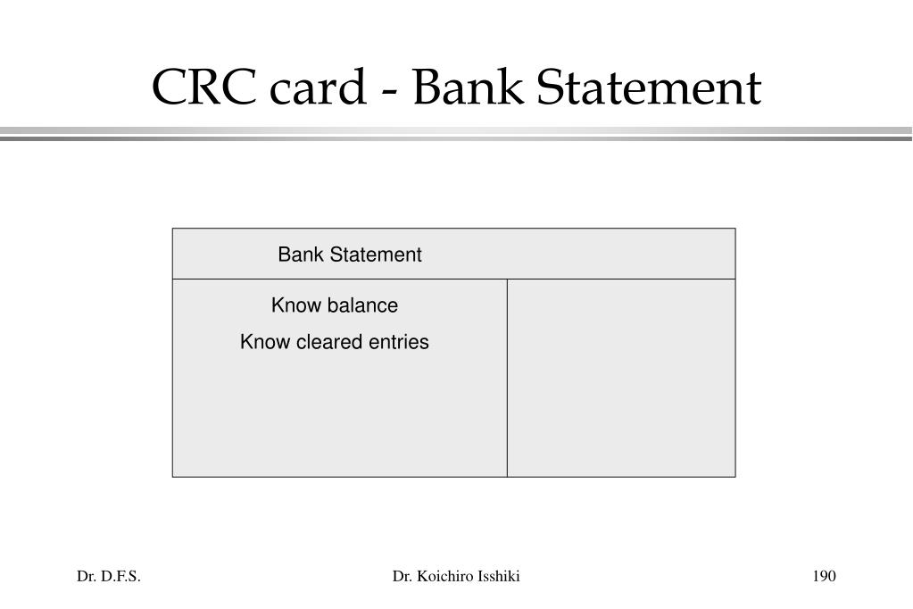 CRC card - Bank Statement