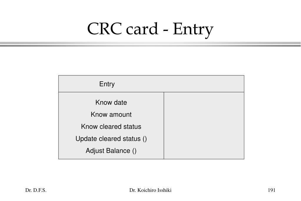 CRC card - Entry