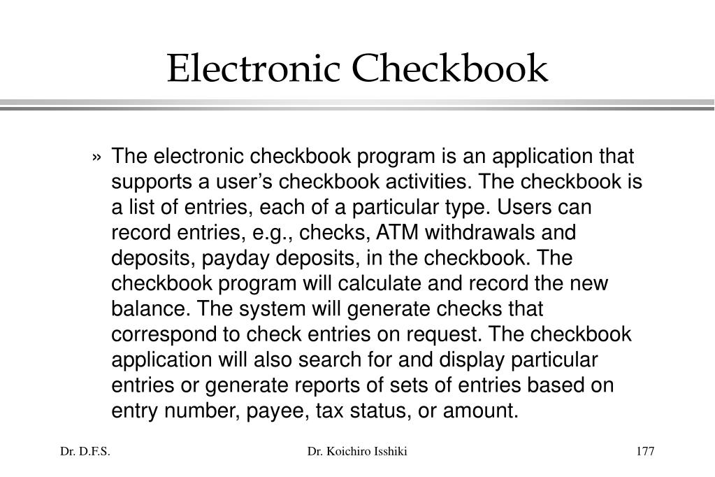 Electronic Checkbook
