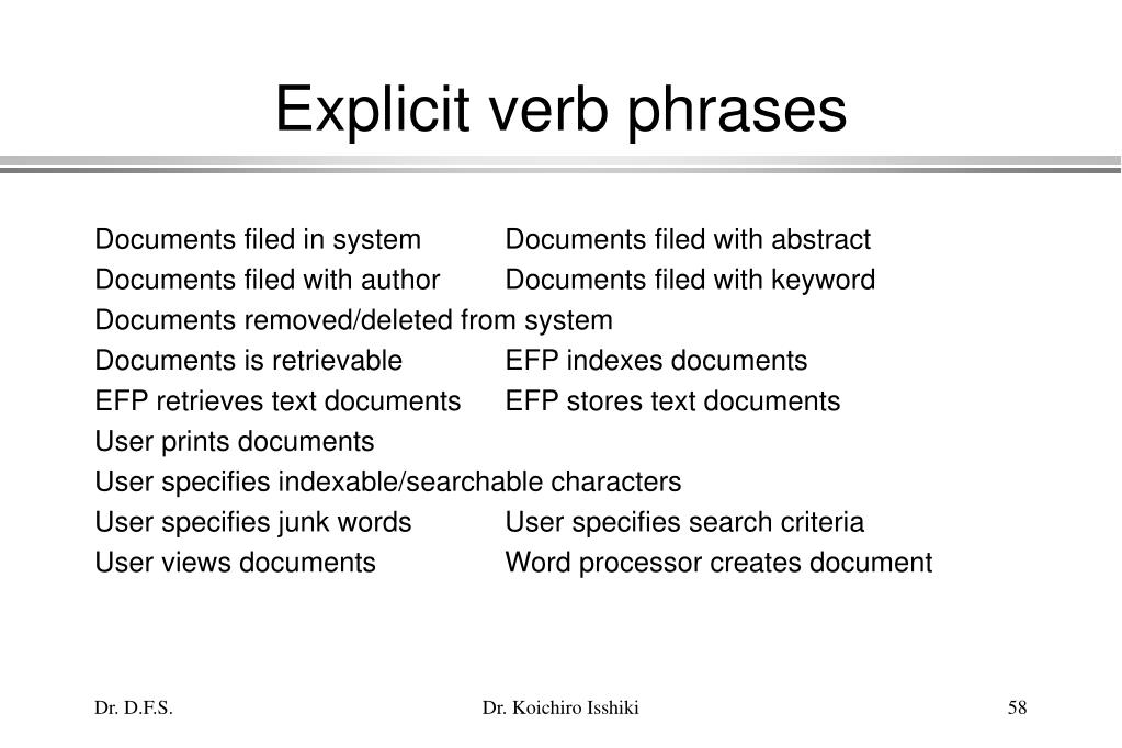 Explicit verb phrases