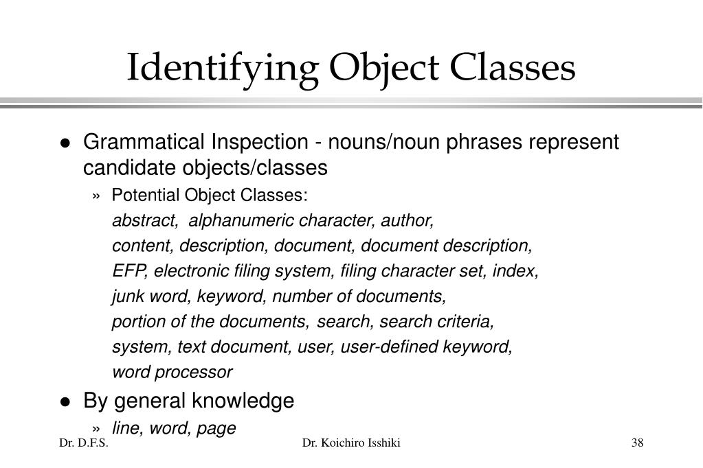 Identifying Object Classes