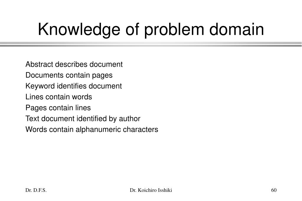 Knowledge of problem domain
