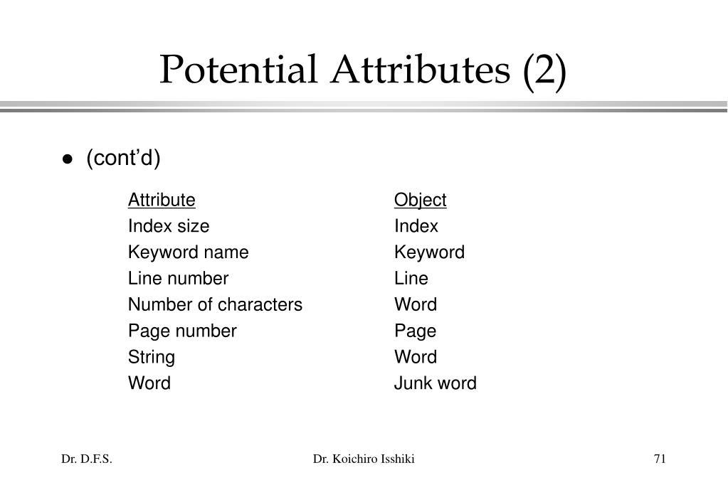 Potential Attributes (2)
