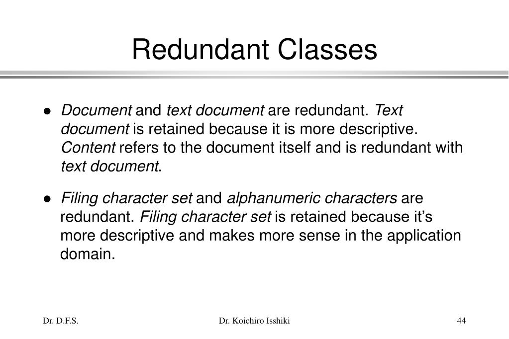 Redundant Classes