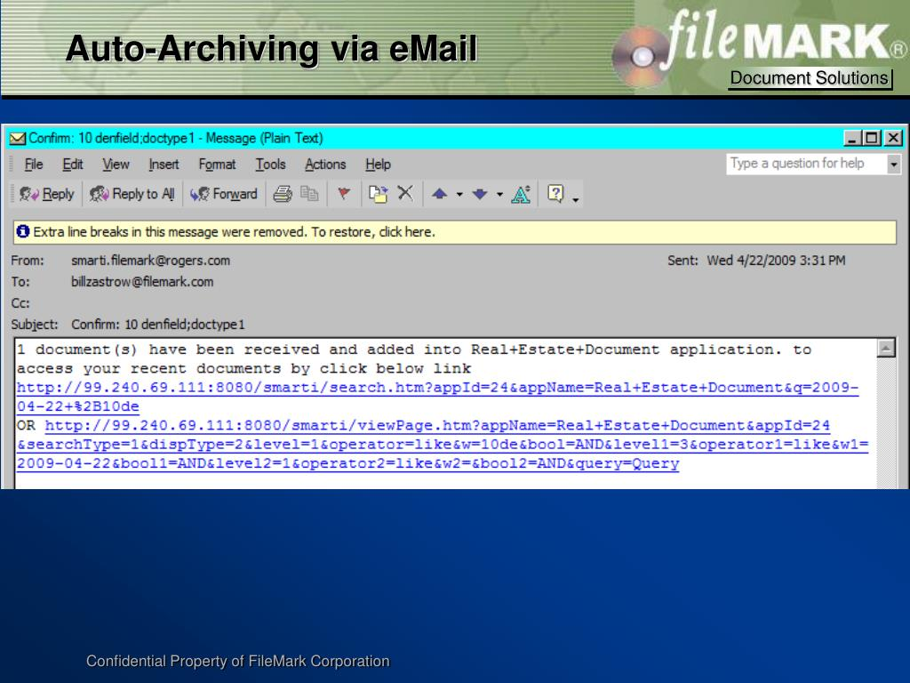 Auto-Archiving via eMail