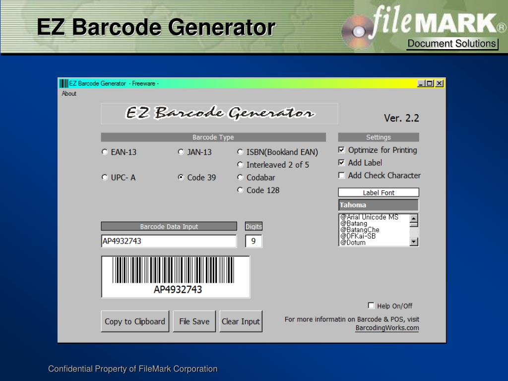 EZ Barcode Generator