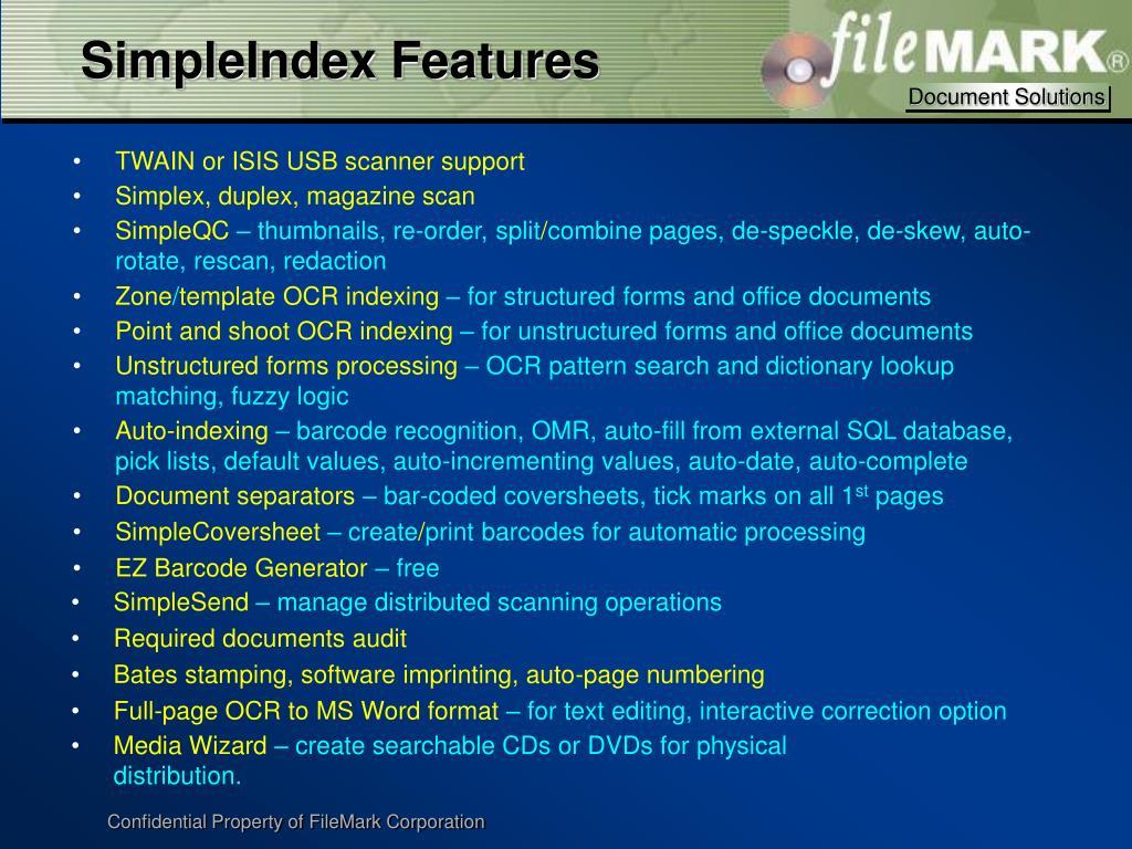 SimpleIndex Features